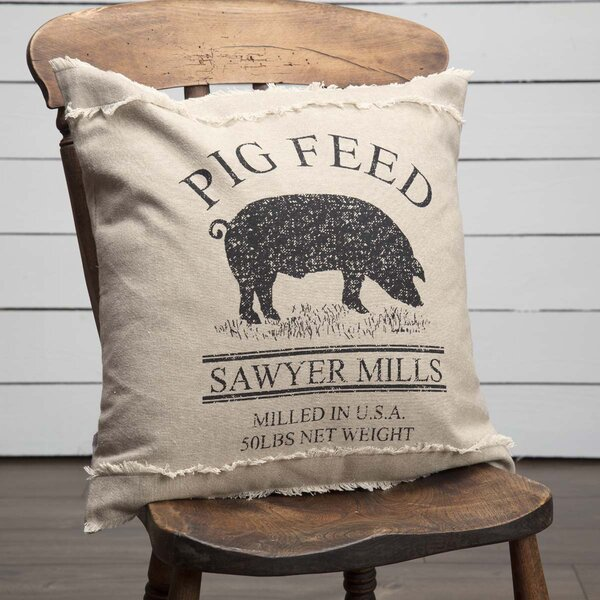 Surikova Pig 100% Cotton Throw Pillow by August Grove